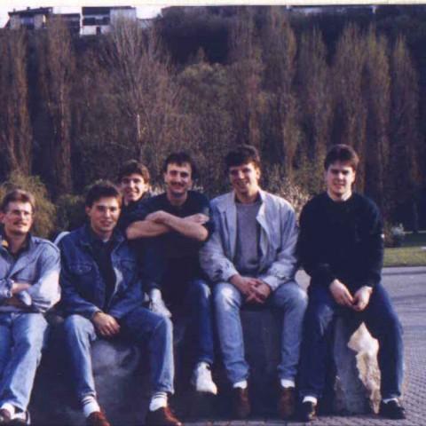 I. Herren 89/90, Burkhard Dietz, Reinhold Rickes, Ingo Karb, Holger Ebert, Bernhard Geis, Mike Strieder, Christian Adam (v.l.n.r)